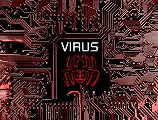 computer virus sign on circuit board