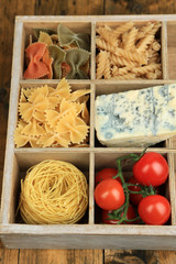 Italian products in wooden box close-up