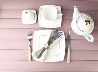 Dining table setting with lavender flowers