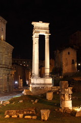 Roman columns by night