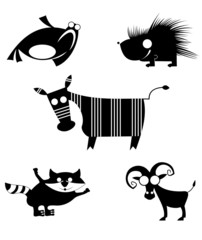 Vector comic animal silhouettes collection for design