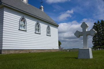 Country church with white cross.
