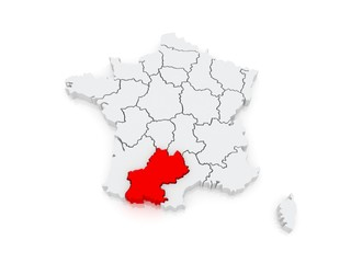 Map of South - Pyrenees. France.