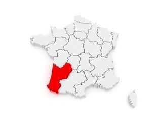 Map of Aquitaine (region). France.