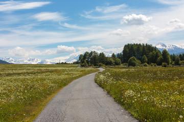 Landschap rond Graun im Vinschgau, Italië