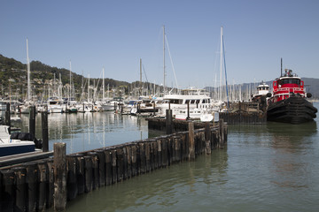 Pacific coast harbor landscape marina with fishing boats