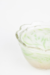 Cendol dessert of Thailand on white paper background