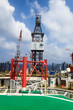 Offshore Jack Up Drilling Rig in The Middle of The Ocean (Aerial