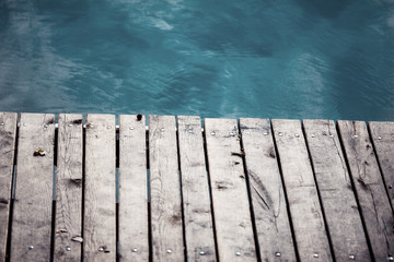 sea with wooden deck