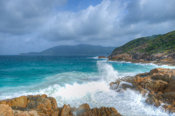 Ocean view and clouds with heavy waves on Perhentian Island
