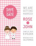 Fototapety Cute pink Wedding Invitation template card