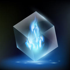 blue flame inside a glass cube
