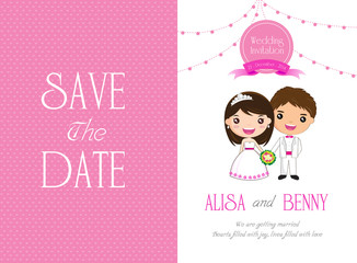 Wedding Invitation card Template Cartoon - vector illustration