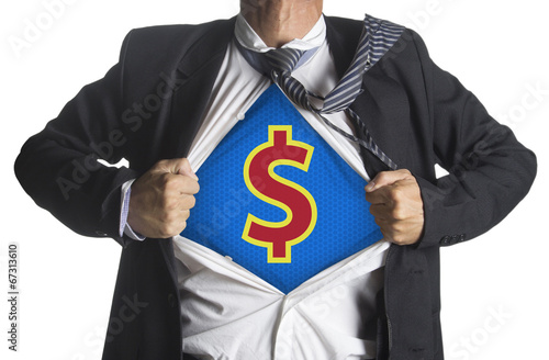 Businessman showing a superhero suit underneath dollar symbol Poster