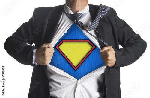 Businessman showing a superhero suit underneath his suit плакат
