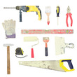 soiled set of tools for building