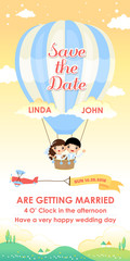 wedding invitation card template design flying in a air balloon