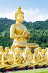 buddha status at temple, Na KhonNayok, Thailand .
