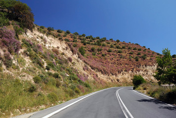 Empty Motor-road on Crete Island