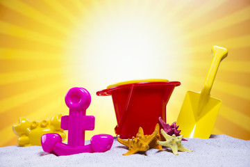 Assortment of children's beach toys