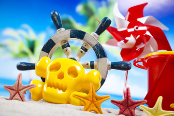Colorful toys for childrens sandboxes, vacation