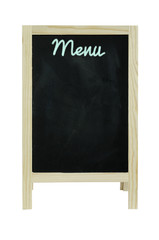 blackboard used as menu ,isolated on white Clipping path