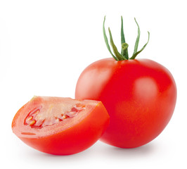 Bright red tomato with a slice