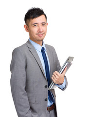 Asian business man hold with laptop computer