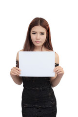 Beautiful asian women holding blank board - isolated over a whit