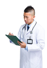 Male doctor write on clipboard
