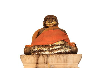 Katyayana bronze craving statue on the white background
