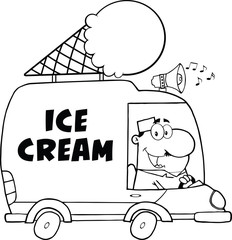 Black And White Happy Ice Cream Man Driving Truck
