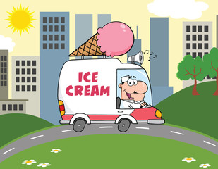 Happy Ice Cream Man Driving Truck In The Town