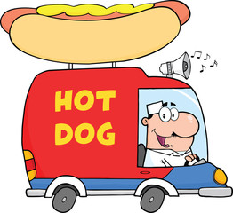 Happy Hot Dog Vendor Driving Truck