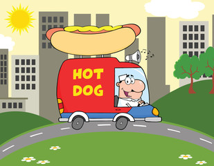 Happy Hot Dog Vendor Driving Truck In The Town