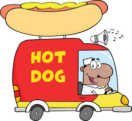 African American Hot Dog Vendor Driving Truck