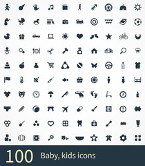 100 baby, kids icons
