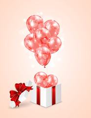 Red balloons and gift box