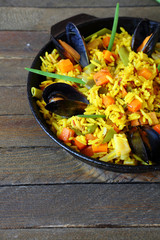 basmati rice with vegetables and mussels
