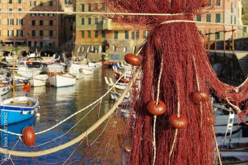 canvas print picture Camogli Fischernetze - Camogli fishing net 04