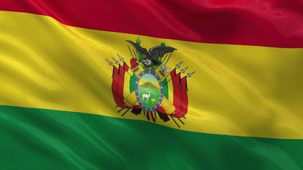 Flag of Bolivia waving in the wind - seamless loop