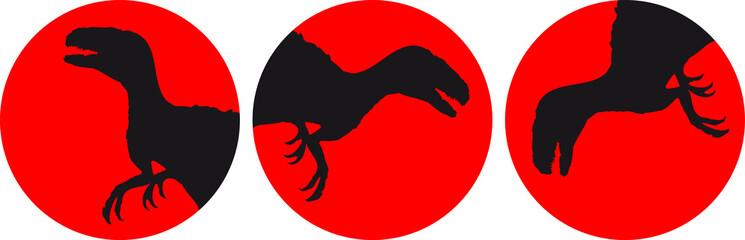 3 Raptor T-Rex Kreis Mond Sonne Logos