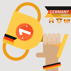 the winner first prize on the hand with germany flag
