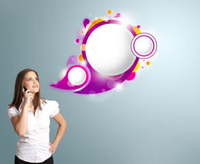 Pretty woman presenting abstract speech bubble copy space and ma