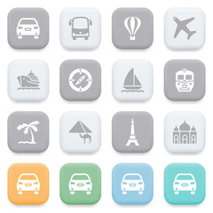 Travel icons on color buttons.