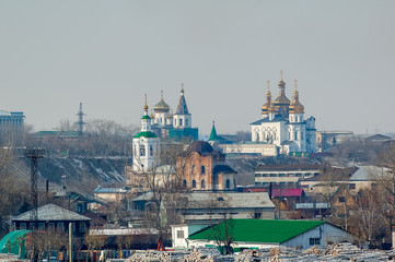 View on two churches. Tyumen. Russia