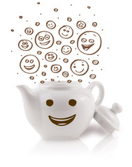 Coffee-pot with brown hand drawn happy smiley faces