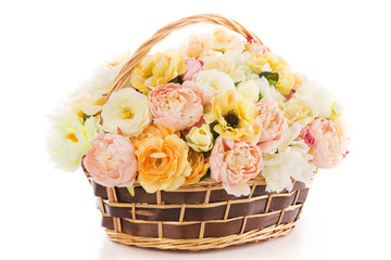Flowers bouquet peony in basket, isolated over white backgound