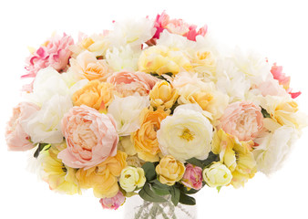Flowers bouquet peony, pastel floral colors, white background