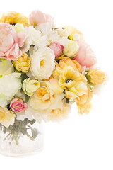 Flowers bouquet peony in vase, pastel floral colors isolated